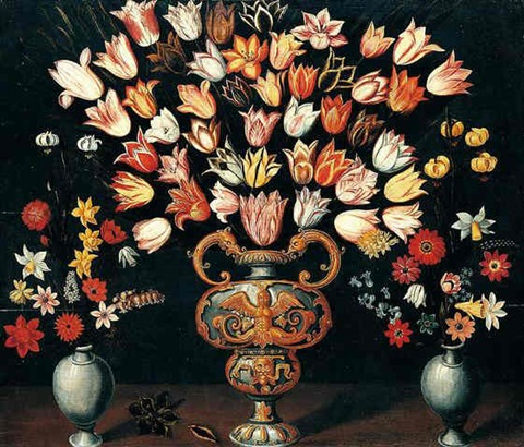 still life of tulips in a sculpted parcel gilt urn together with vases of various flowers arranged upn a wooden ledge by ludger tom ring the elder