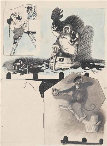 untitled man on ladder and woman on balcony inuit and walrus monkey and skull woman recto verso by lyonel feininger