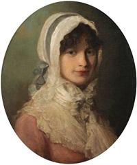 portrait d'une jeune fille avec coiffe en dentelle by john opie