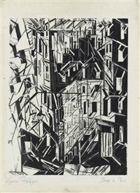 strasse in paris by lyonel feininger