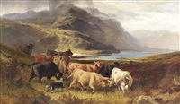droving highland cattle by a lochside (collab. w/joseph denovan adam) by joseph adam