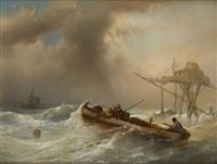 barque de pêcheurs dans une mer agitée by jacob jacobs