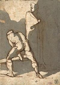 un homme levant une poutre by théodore géricault