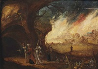 lot and his daughters fleeing sodom by rombout van troyen