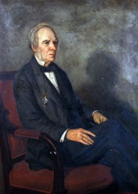 portrait of a seated gent wearing black suit and monocle by charles napier kennedy