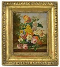 stilleben med tulpaner, rosor, mm by erich josef donau dogarth