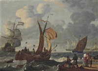 dutch hoys, men-o'war and other coastal craft off the netherlands, with merchants and other figures on the foreshore by abraham jansz storck