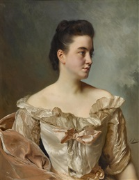 a portrait of a lady in pink by gustave jean jacquet
