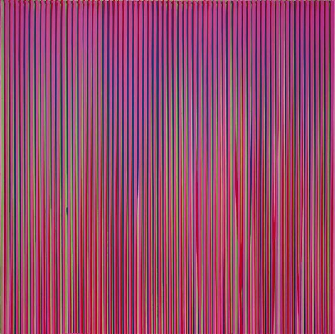 poured lines light violet green blue red violet by ian davenport