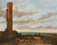 a shepherd with cattle and sheep by a tower in a panoramic landscape by anthonie van borssom