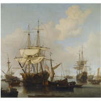 shipping at anchor in the thames estuary, near wapping by samuel scott