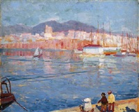 early morning mallorca (st. catalina from the pier) by bernhard gutmann