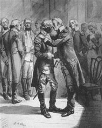 george washington embraced by officer as others look on by edwin austin abbey