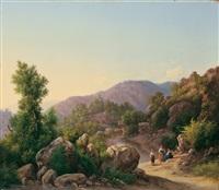 gebirgige italienische landschaft im abendlicht by guido agostini