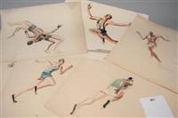 coureur, lutteurs, boxe, le départ, la course et les acrobates (8 works) by paul daxhelet