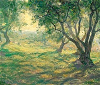 in the olive orchard - provençal olive orchard by guy rose
