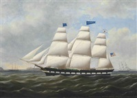 the american merchantman trumbull of new york entering the port of liverpool, 20th december 1859 by duncan mcfarlane