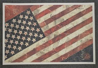two prints: legislative influence for sale; american flag (2 works) by shepard fairey