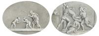 scènes antiques mises à l'ovale (2 works) by jean baptiste joseph wicar