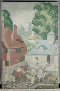 an english holiday - stable yard by mary adshead