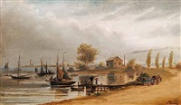 untitled - boats at harbour (+ untitled - the settler's home; 2 works) by joseph julius humme