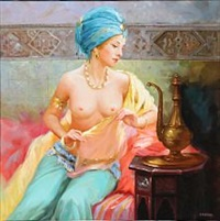 a woman seated in a middle eastern interior by alexander akopov