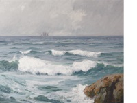 breaking waves (sailing along) by maurice braun