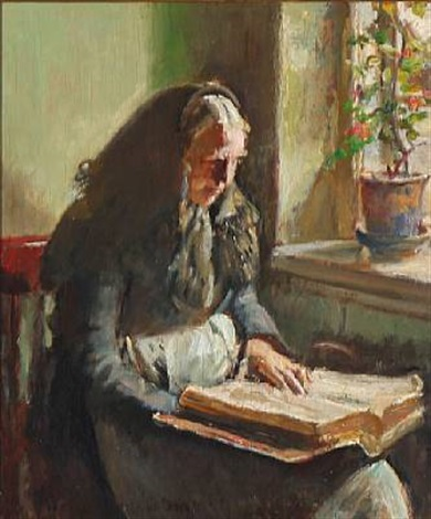 a woman reads by a window by michael peter ancher