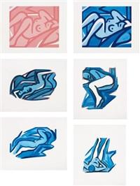 blue nudes (set of 6) by tom wesselmann