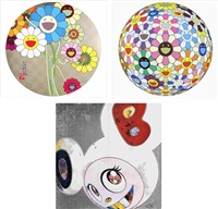 flowers for algernon/ flowerball cosmos (3d)/ dob in pure white robe (navy & vermilion) (set of 3) by takashi murakami