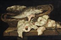 a still life of fish in a wicker basket by abraham van beyeren