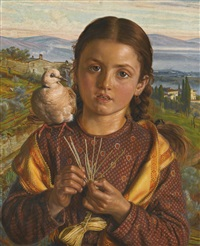 tuscan girl plaiting straw by william holman hunt