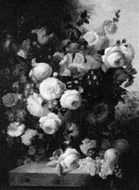 floral still life on a stone plinth in a landscape by francois gabriel