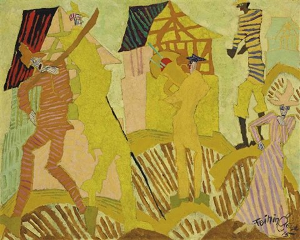 trompetenbläser im dorf by lyonel feininger