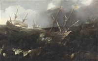 men-of-war in a storm by andries van eertvelt
