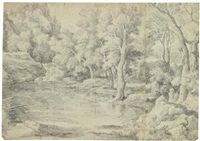 a landscape with a river running through a forest, a shepherd and his flock resting on the bank by gaspard dughet