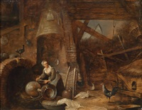 scheuneninterieur mit einer bäuerin by david teniers the younger