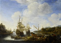 a capriccio view of a port with vessels and stevedores unloading cargo by jan abrahamsz beerstraten