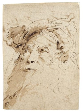 a head of a bearded oriental wearing a turban turned to the left a sheet of figure studies possibly for a pietà rectoverso by giovanni battista tiepolo