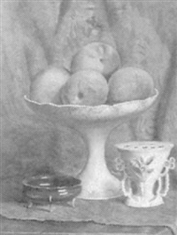 still life with peaches in compote by emmanuele costa