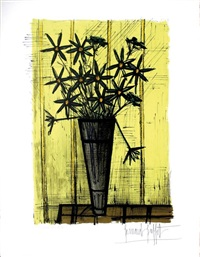 bouquet sur fond jaune by bernard buffet