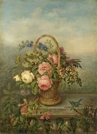 panier de fleurs dans un jardin by emilie allard