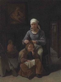 a woman grooming her child's hair by michael sweerts