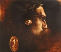 self-portrait with laurels by adrian ghenie