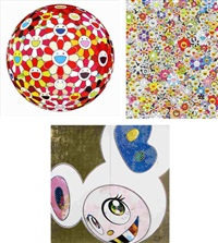 flowerball - goldfish colors (3d)/ poporoke forest/ dob in pure white robe (pink & blue) (set of 3) by takashi murakami