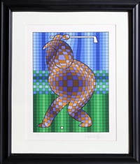 the golfer (blue and gold) by victor vasarely