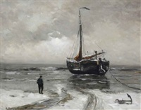 a bomschuit anchored in winter by gerhard arij ludwig morgenstjerne munthe