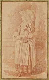 etude de femme en habit traditionnel (study) by jean honoré fragonard