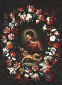 the virgin mary and the infant jesus surrounded by a large festoon with numerous flowers by daniel seghers and cornelis schut the elder