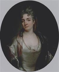 presumed portrait of marie-catherine de silvestre, née hérault, in a pearl-grey satin dress and a purple velvet coat by joseph vivien